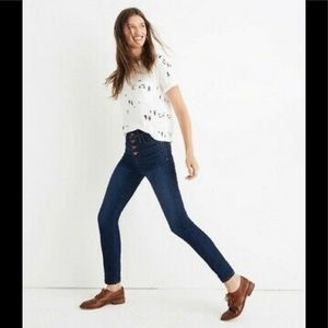 "Madewell 10"" High Rise Skinny Button fly jeans 27"""